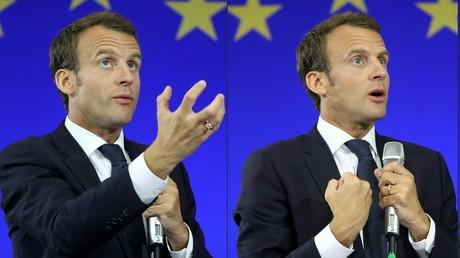 Emmanuel Macron devant un drapeau européen.