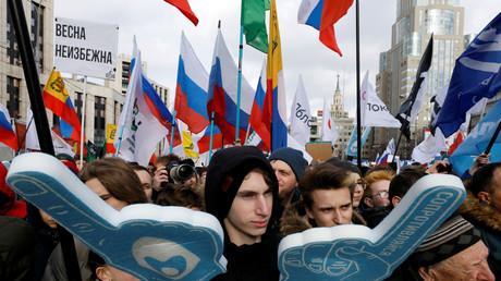 Manifestation à Moscou, le 10 mars 2019, contre le projet de loi visant à se doter d'un internet indépendant