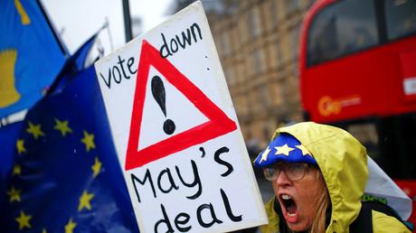 Une manifestante anti-Brexit le 12 mars à Londres (image d'illustration).