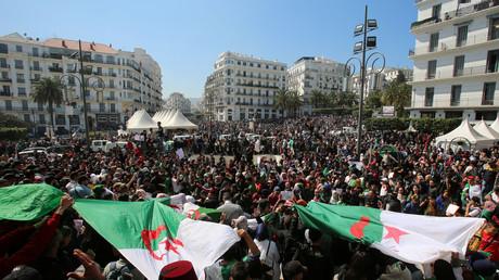 Une manifestation pour un changement politique en Algérie, après le renoncement de Bouteflika, à Alger, le 12 mars.