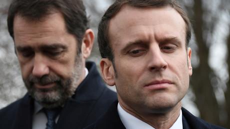 Christophe Castaner et Emmanuel Macron au cimetière juif de Quatzenheim le 19 février 2019 (image d'illustration).