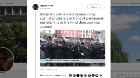 Piégé par le vent : un policier bulgare asperge ses collègues de gaz lacrymogène (VIDEO)