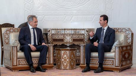 Sergueï Choïgou et Bashar al-Assad à Damas le 19 mars.
