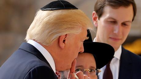 Donald Trump et son gendre Jared Kushner devant le mur des lamentations à Jérusalem, le 22 mai 2017.