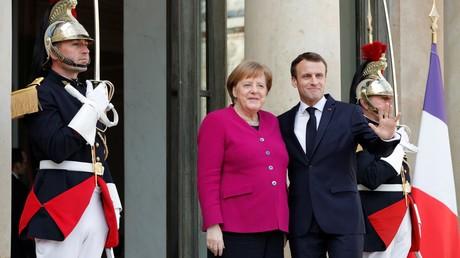 La chancelière allemande Angela Merkel à l'Elysée avec Emmanuel Macron, le matin du 26 mars 2019, avant leur réunion avec Jean-Claude Juncker et Xi Jinping.