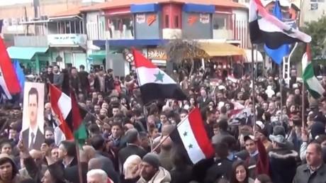 Au lendemain du décret de Trump sur le Golan, des syriens sont rassemblés à Madinat al-Baath, le 26 mars 2019.