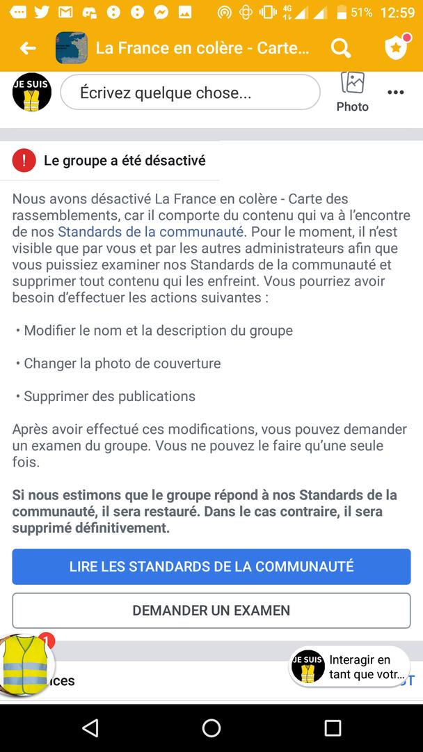 Gilets jaunes : une importante page Facebook désactivée, son administrateur confie sa surprise