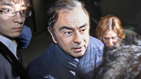 Carlos Ghosn à la sortie de son bureau le 3 avril à Tokyo (image d'illustration).