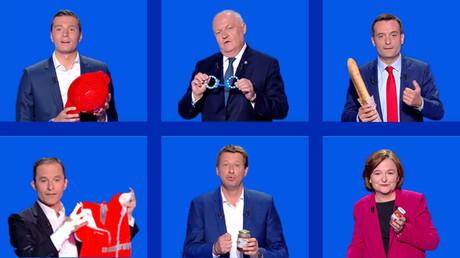 Jordan Bardella, François Asselineau, Florian Philippot, Benoît Hamon, Yannick Jadot et Nathalie Loiseau sur le plateau de France 2 le 4 avril 2019.