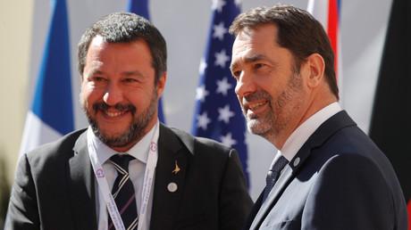 Matteo Salvini et Christophe Castaner le 4 avril à Paris.