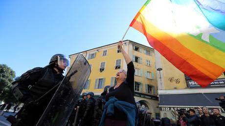 Geneviève Legay, militante d'Attac, lors d'une manifestation à Nice le 23 mars 2019 (image d'illustration).