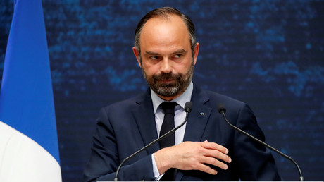 Le Premier ministre Edouard Philippe lors de son intervention, le 8 avril 2019, pour la restitution du grand débat.