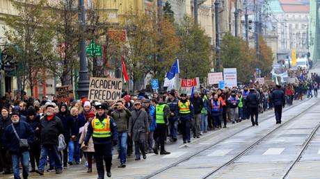 Manifestation pour le maintient de l'Université d'Europe centrale à Budapest en novembre 2018.