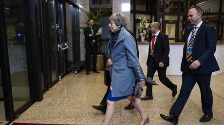 Le Premier ministre britannique, Theresa May, quittant le Conseil européen extraordinaire sur le Brexit le 11 avril 2019 à Bruxelles (image d'illustration).