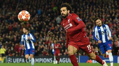 Mohamed Salah, joueur de Liverpool, lors du match aller de quart de finale de l'UEFA Champions League contre le FC Porto, à Anfield, le 9 avril 2019 (image d'ilustration).