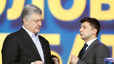 Petro Porochenko et Volodymyr Zelensky, le 19 avril 2019 à Kiev en Ukraine (image illustration).
