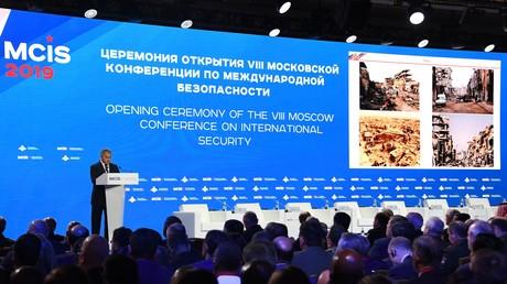 Le ministre russe de la Défense Sergueï Choïgou s'exprime lors de l'ouverture de la huitième conférence de Moscou sur la sécurité internationale, le 24 avril 2019.