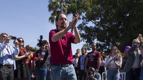 Pablo Iglesias, leader du parti Podemos, lors d'un meeting à Palma de Majorque, le 15 avril 2019 (image d'illustration).