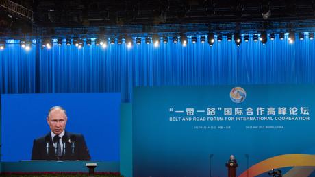 Le président de la Fédération de Russie, Vladimir Poutine prononce un discours lors du premier Forum des Routes de la soie à Pékin, le 14 mai 2017.