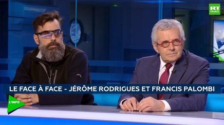 Le Gilet jaune Jérôme Rodrigues et le président des commerçants de France, Francis Palombi, sur le plateau de RT France.