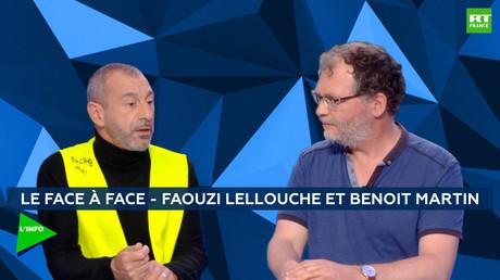 Le Gilet jaune Faouzi Lellouche et le secrétaire général de la CGT Paris, Benoît Martin, sur le plateau de RT France.