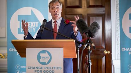 Nigel Farage, leader du Parti du Brexit, lors du meeting de lancement de la campagne européenne du parti à Londres, le 23 avril 2019 (image d'illustration).