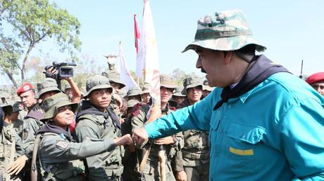 Nicolas Maduro à la rencontre de soldats de l'armée vénézuélienne le 4 mai 2019 (image d'illustration).