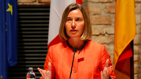 La haute représentante de l'Union européenne pour les affaires étrangères et la politique de sécurité, Federica Mogherini, lit une déclaration à l'issue d'une réunion à Vienne, en Autriche, le 6 juillet 2018 (image d'illustration).