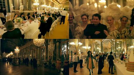 Petits fours, feux d'artifice et musique d'époque à Versailles pour l'anniversaire de Carlos Ghosn le 9 mars 2014 (montage photo).