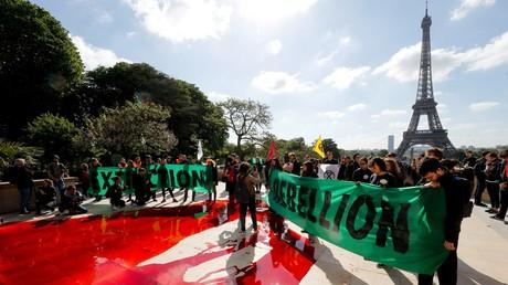 Manifestation du groupe d'action Extinction Rebellion devant la Tour Eiffel pour alerter sur le déclin de la biodiversité, le 12 mai 2019 à Paris.