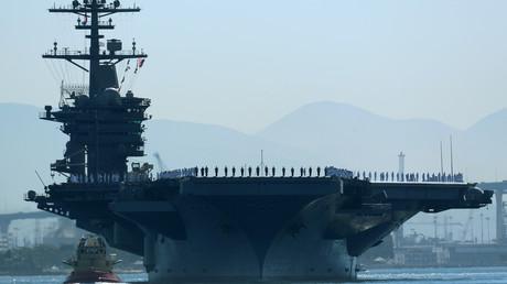 Le porte-avions américain «Theodore Roosevelt» quitte le port de San Diego en Californie pour rejoindre le golfe Persique, le 6 octobre 2017 (image d'illustration).