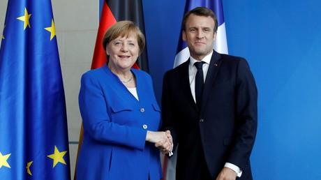 Angela Merkel et Emmanuel Macron le 29 avril 2019 à Berlin (image d'illustration).
