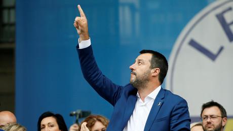 Matteo Salvini voit toujours plus haut (image d'illustration d'un meeting du 18 mai 2018).