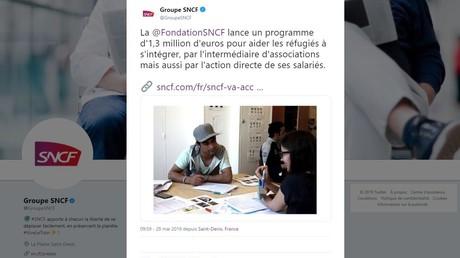 Capture d'écran du compte Twitter du groupe SNCF.