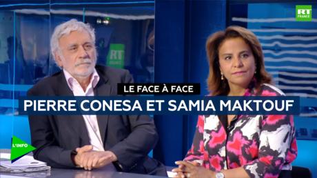 L'avocate Samia Maktouf et l'ancien haut fonctionnaire Pierre Conesa sur le plateau de RT France.