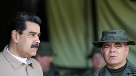 Le président vénézuélien, Nicolas Maduro, et le ministre de la Défense, Vladimir Padrino, à Caracas le 3 juin 2019 (image d'illustration).