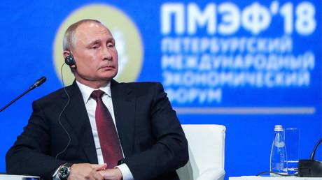 Le président russe, Vladimir Poutine, lors du Forum économique international 2018 de Saint-Pétersbourg, le 25 mai 2018, en Russie (image d'illustration).