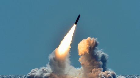 Un missile américain Trident II D5, capable de porter un charge nucléaire (illustration)