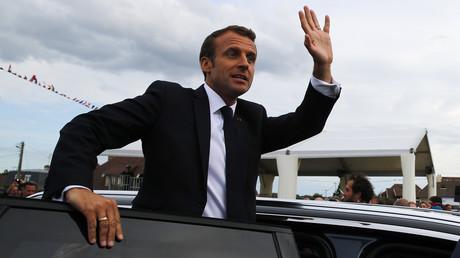 Emmanuel Macron lors de la cérémonie d'hommage au commando Kieffer, le 6 juin 2019, à Colleville-Montgomery, en Normandie (image d'illustration).