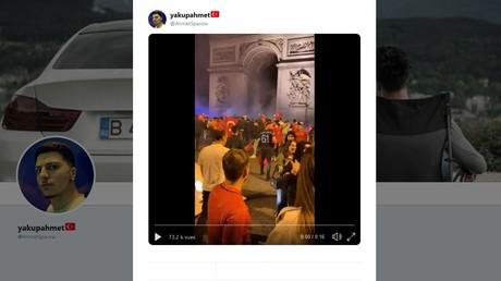 Capture d'écran sur Twitter d'une vidéo des supporteurs turcs rassemblés devant l'Arc de Triomphe dans la nuit du 8 au 9 juin 2019.