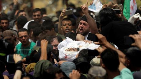 Obsèques d'Abdel-Basset al-Sarout à Idleb le 9 juin.