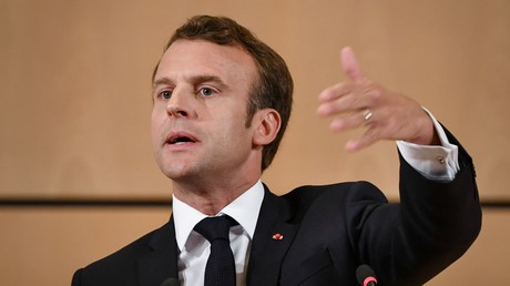 Le président de la République Emmanuel Macron s'exprime le 11 juin 2019 à la Conférence internationale du travail à Genève.