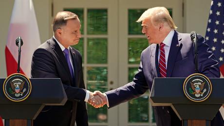 Le président américain Donald Trump accompagné de son homologue polonais Andrzej Duda, le 12 juin 2019, au Rose Garden de la Maison Blanche, à Washington, aux Etats-Unis (image d'illustration).