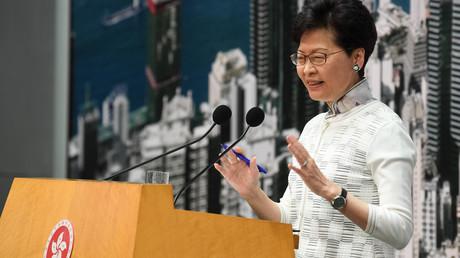Le chef de l'exécutif hongkongais, Carrie Lam, lors de sa conférence de presse du 15 juin 2019 depuis le siège gouvernemental, à Hong Kong.