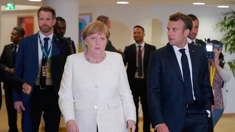La chancelière allemande Angela Merkel et le président français Emmanuel Macron à Bruxelles, le 20 juin.