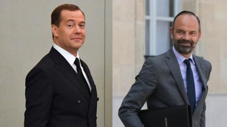 Dmitri Medvedev (à gauche) et Edouard Philippe (à droite) (image d'illustration).