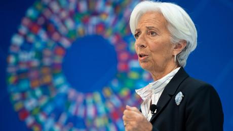 Christine Lagarde lors des réunions de printemps du FMI et de la Banque mondiale, au siège du Fonds monétaire international, à Washington, le 10 avril 2019, aux Etats-Unis (image d'illustration).