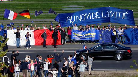 Manifestation de soutiens europhiles à l'amitié franco-allemande à Berlin le 15 mai 2017 (image d'illustration).