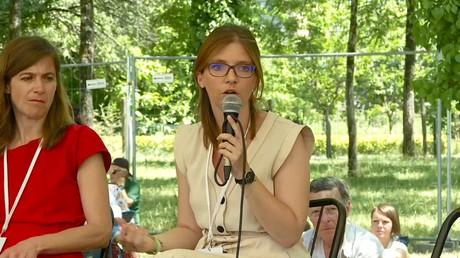 La députée Aurore Bergé le 13 juillet 2019 à Couthures-sur-Garonne.