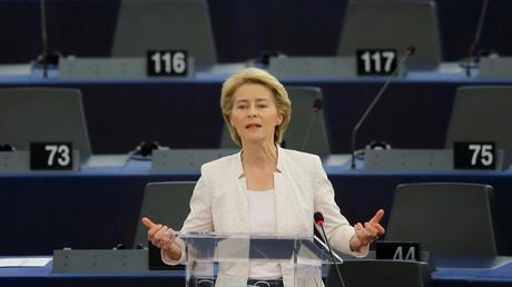 Ursula von der Leyen lors de son allocution à Strasbourg le 16 juillet.